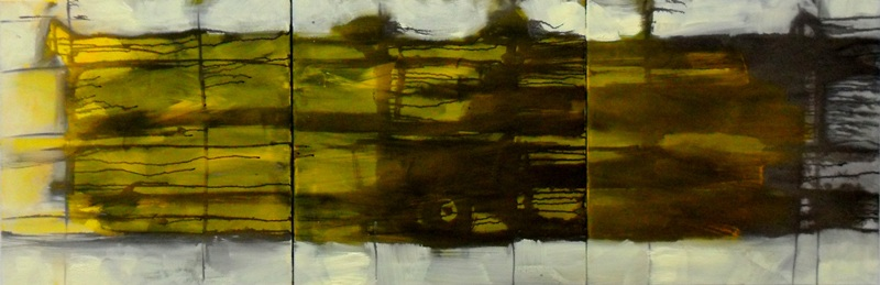 """extension"", 2011, used engine oil and acrylic on canvas, 150 x 50 cm"