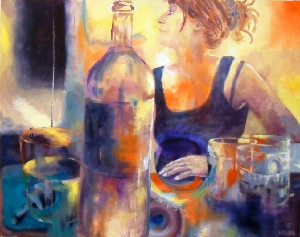 """Ivonne with bottle"", 2013, oil on canvas, 100 x 80 cm"